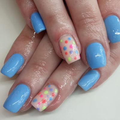 The Gel Bottle Sky Blue with polka dots Manicure in Polished Beauty, Skin & Laser Experts in Tallow in West Waterford - www.polishedtallow.ie