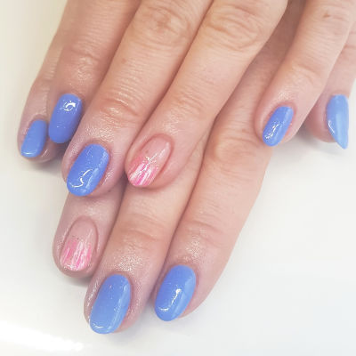 Kiara Sky Blue and pink Manicure in Polished Beauty, Skin & Laser Experts in Tallow in West Waterford - www.polishedtallow.ie