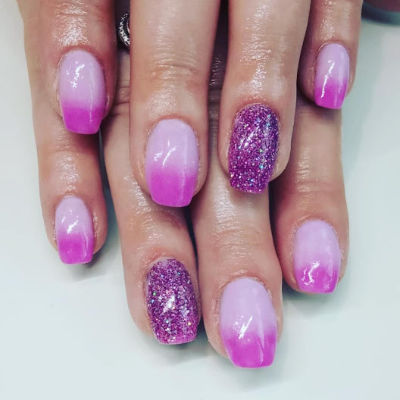 Kiara Sky Pink and Purple Manicure in Polished Beauty, Skin & Laser Experts in Tallow in West Waterford - www.polishedtallow.ie