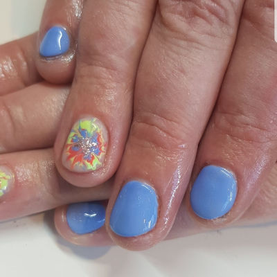 The Gel Bottle Sky Blue splash Manicure in Polished Beauty, Skin & Laser Experts in Tallow in West Waterford - www.polishedtallow.ie